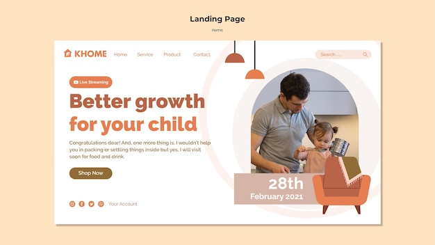 Шаблон целевой страницы для нового семейного дома