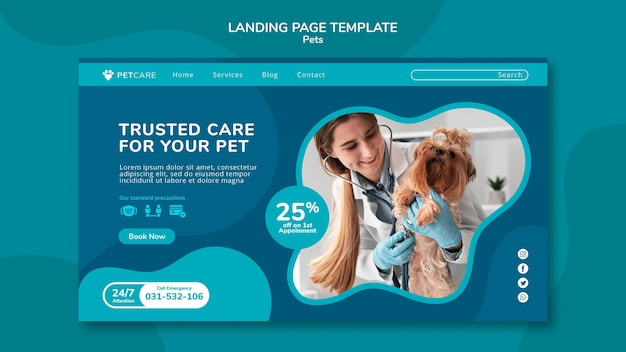 여성 수의사와 요크셔 테리어 강아지와 함께 애완 동물 관리를위한 방문 페이지 템플릿