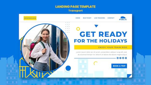 女性通勤者との公共交通機関のランディングページテンプレート
