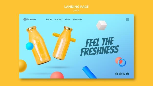 유리 병에 오렌지 주스를 상쾌하게하기위한 방문 페이지 템플릿