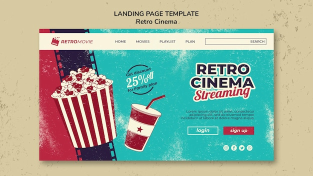 Шаблон целевой страницы для ретро-кинотеатра