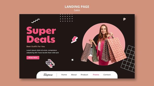 분홍색 정장을 입고 여자와 판매를위한 방문 페이지 템플릿