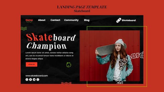 여자와 스케이트 보드를위한 방문 페이지 템플릿