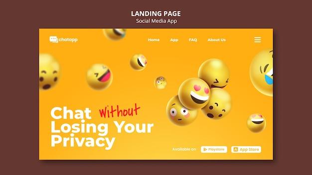 이모티콘이 포함 된 소셜 미디어 채팅 앱용 랜딩 페이지 템플릿
