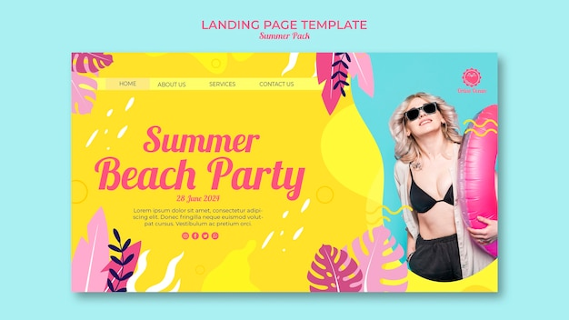Шаблон целевой страницы для летней пляжной вечеринки