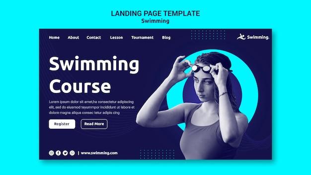 여성 수영 선수와 함께 수영하기위한 방문 페이지 템플릿