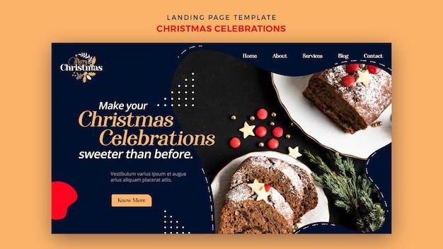 伝統的なクリスマスデザートのランディングページテンプレート