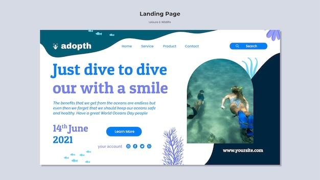 수중 스쿠버 다이빙을 위한 방문 페이지 템플릿