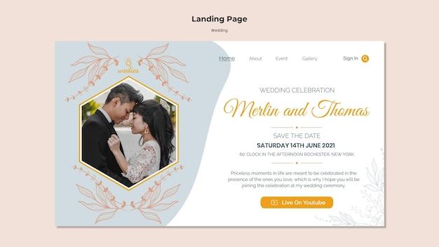 新郎新婦との結婚式のランディングページテンプレート