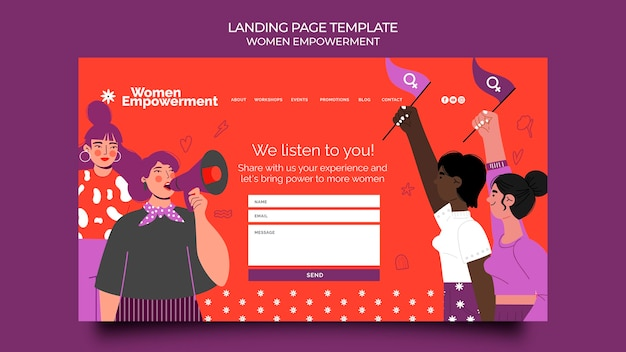 女性のエンパワーメントのためのランディングページテンプレート