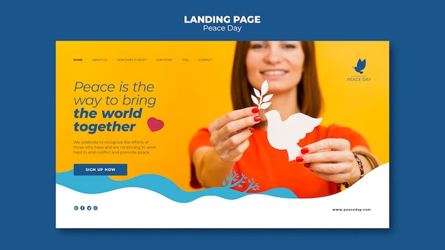 世界平和デーのランディングページテンプレート