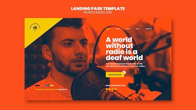 방송사와 마이크가 포함 된 세계 라디오의 날 방문 페이지 템플릿