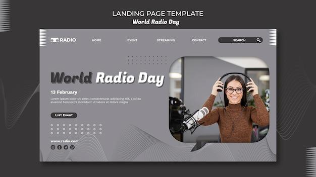 Шаблон целевой страницы всемирного дня радио с телеведущей