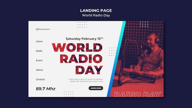 Шаблон целевой страницы всемирного дня радио с мужским телеведущим