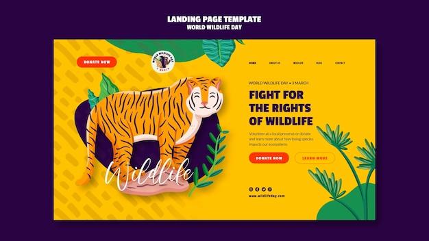 Шаблон целевой страницы для празднования всемирного дня дикой природы