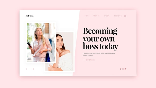 Landing page template for freelance business work