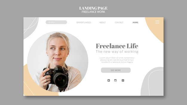 Landing page template for freelance work with female photographer