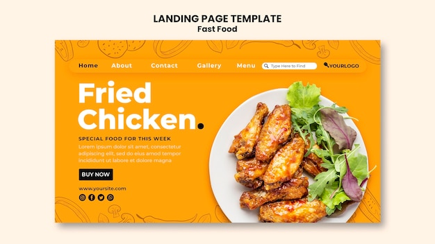Landing page template for fried chicken dish