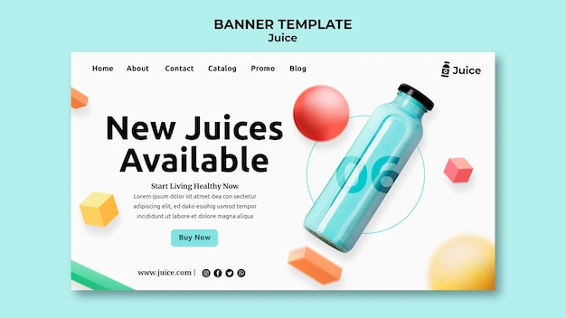 Landing page template for fruit juice in glass bottle