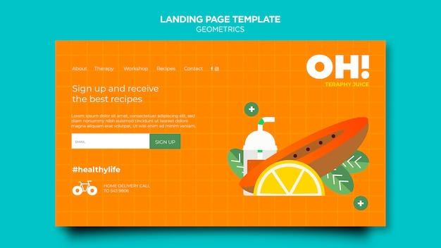 Landing page template for fruit smoothies recipes
