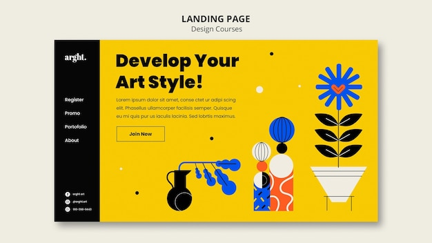 Landing page template for graphic design classes