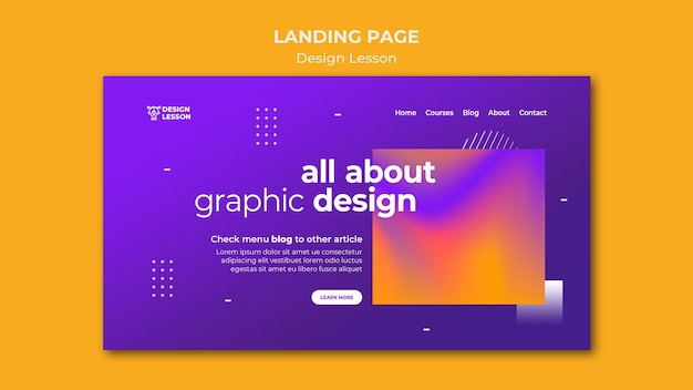 Landing page template for graphic design lessons
