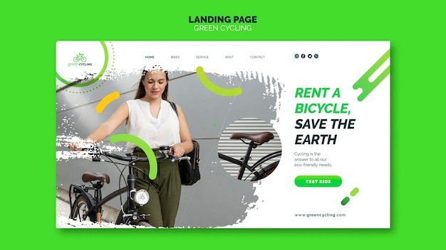 Landing page template for green biking