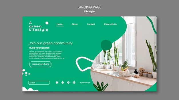 Landing page template for green lifestyle with plant