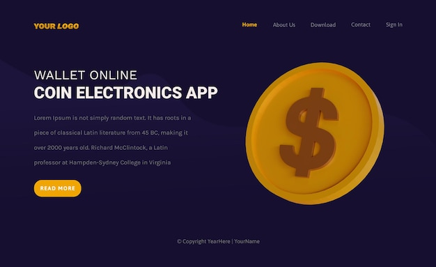 Landing page template of grow business with coin