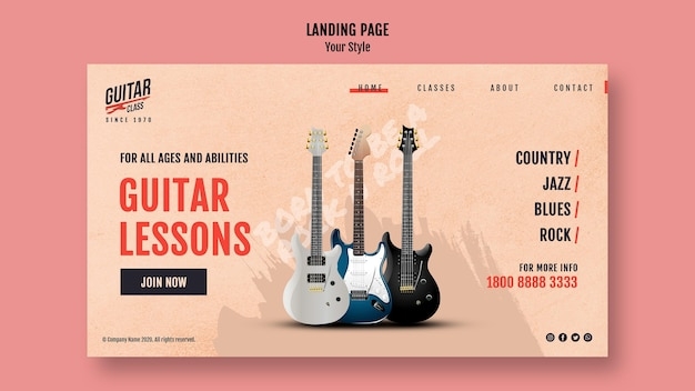 Landing page template guitar lessons
