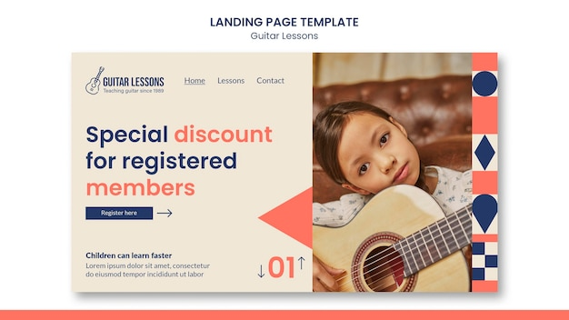 Landing page template for guitar lessons