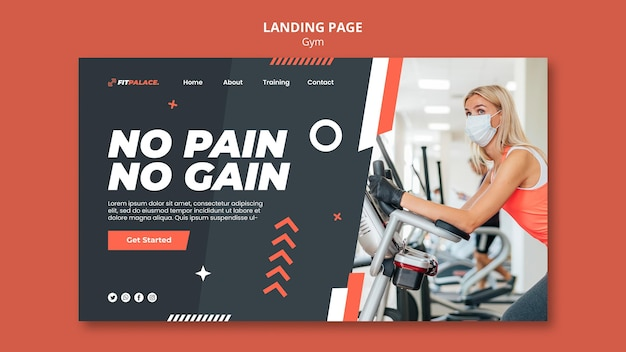 Landing page template for gym workout with woman wearing medical mask