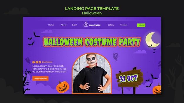 Modello di pagina di destinazione per halloween con bambino in costume