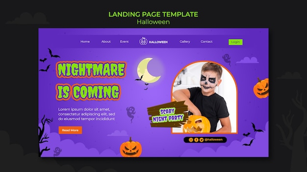Landing page template for halloween with kid in costume