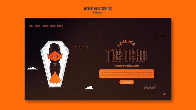 Modello di pagina di destinazione per halloween con vampiro nella bara