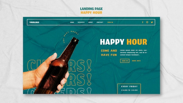 Landing page template for happy hour