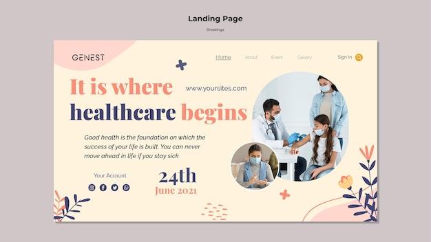 Modello di pagina di destinazione per l'assistenza sanitaria con persone che indossano una maschera medica Psd Gratuite
