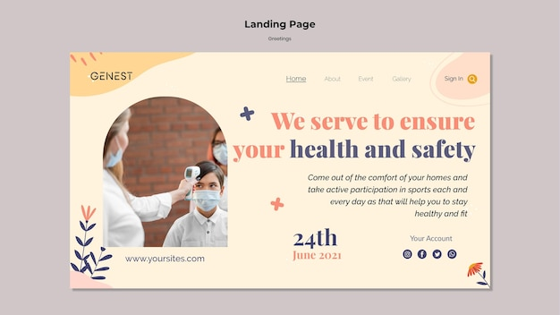 Landing page template for healthcare with people wearing medical mask