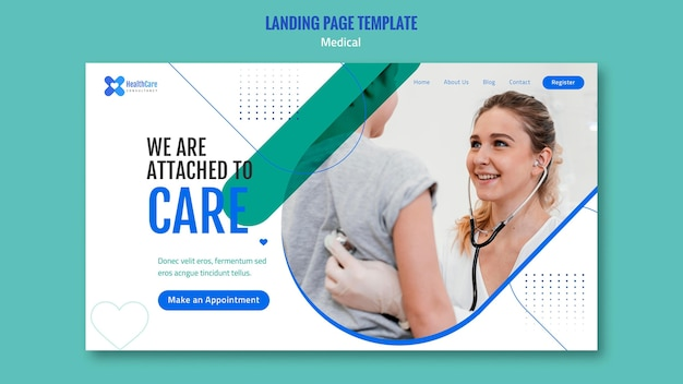 Landing page template for healthcare