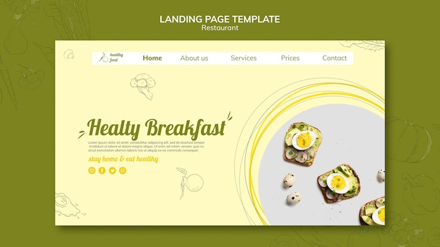 Landing page template for healthy breakfast with sandwiches