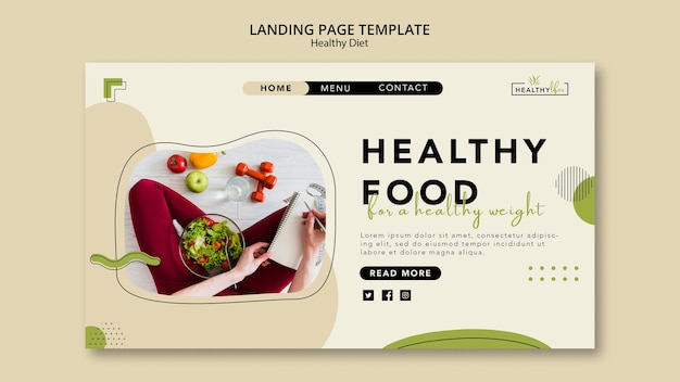 Landing page template for healthy diet with vegetables