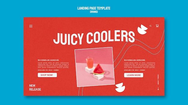 Modello di pagina di destinazione per succhi di frutta sani