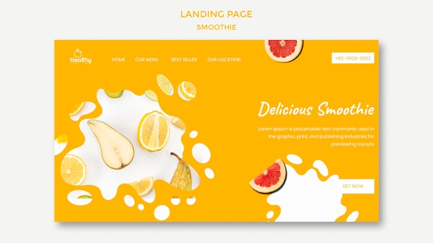 Modello di pagina di destinazione per frullati di frutta sani