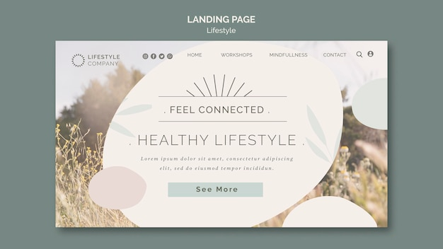 Landing page template for healthy lifestyle company