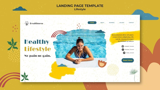 Landing page template for healthy lifestyle