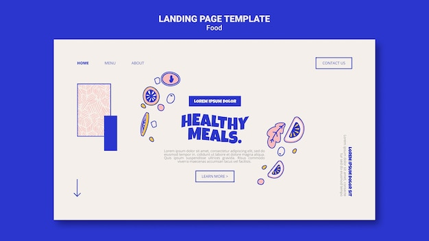 Landing page template for healthy meals