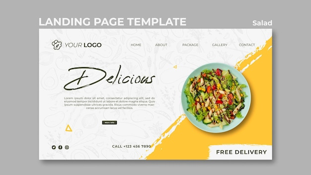 Landing page template for healthy salad lunch