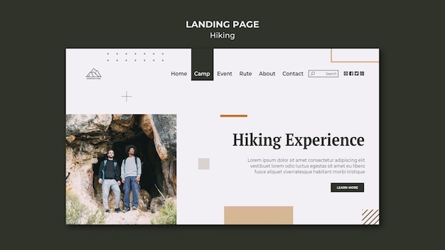 Landing page template for hiking in nature