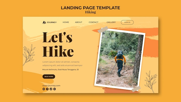 Landing page template for hiking