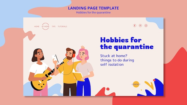 Landing page template for hobbies during quarantine
